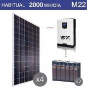 kit solar con baterías OPzS para vivienda habitual con consumo medio de 2000Wh/día