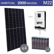 kit solar con baterías OPzS uso habitual consumo de 2000Wh/día