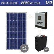 kit solar para uso vacacional en chalets de verano con consumo de 2250Wh/dia
