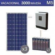 Kit solar chalet verano 3000wh al dia en verano y potencia de 3000W