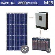 Kit solar para uso habitual de 2500Wh/dia y baterias estacionarias