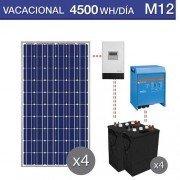Kit solar de chalet vacacional para consumo diurno de 4500Wh/día