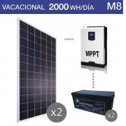 Kit solar uso verano de 2000Wh/día y baterías monoblock AGM