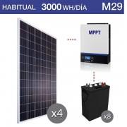 kit solar con baterías de ciclo profundo para consumo habitual de 3000Wh/dia