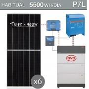 kit solar con batería de litio para consumo de 5500Wh/dia - P7L