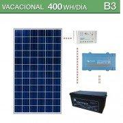 Kit solar de consumo 400Wh/día vacacional y baterías AGM