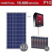 Kit solar para vivienda habitual con consumo de 10500Wh/dia y gestor energético