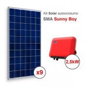 Kit solar de autoconsumo directo SMA con el Sunny Boy de 2.5kW